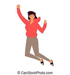 fejr, springe, kvinde, hvid baggrund, unge