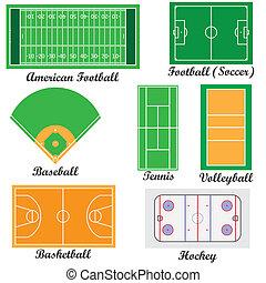 felter, sæt, sport, games.