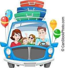 ferie, familie, illustration