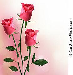 ferie, rød baggrund, roser