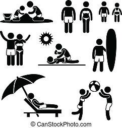 ferie sommer, strand, familie, leisure