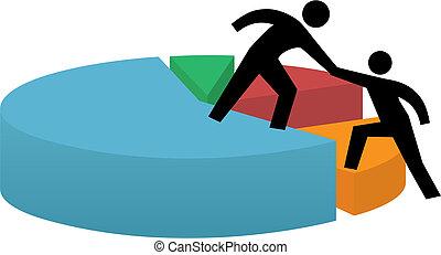 finansiel fremgang, firma, pie kort, hjælpe ræk