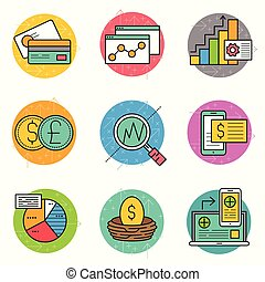 finansielle, ikon, firma, sæt