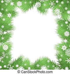 fir, kviste, branches, border., træ, vektor, baggrund, jul