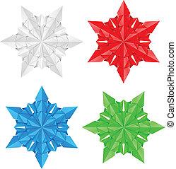 fire, avis, sneflager, farverig