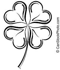 fire, kløver, shamrock, blad, calligraphic