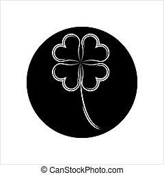 fire, kløver, shamrock, blad, ikon