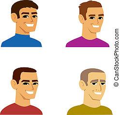 fire, portræt, mandlig, avatar, cartoon