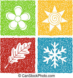 fire sæsoner, doodle, iconerne