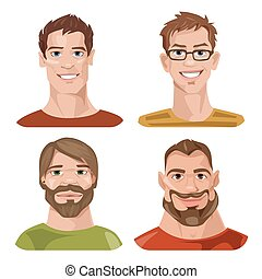 fire, sæt, avatars, stylized, vektor, mandlig