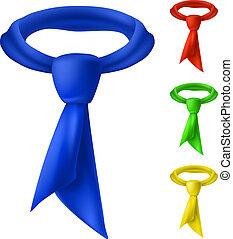 fire, tie., farverig