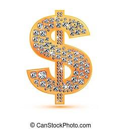 firkant, dollar, ikon