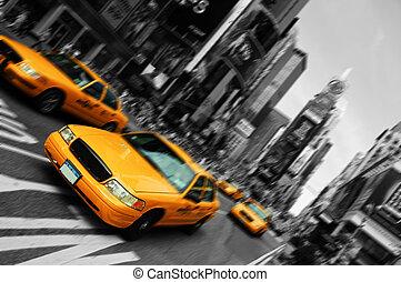 firkantet, afføringen, taxi, sløre, byen, times, york, indstille, nye