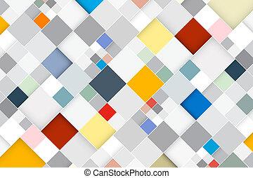 firkantet, farverig, abstrakt, moderne, -, vektor, retro, baggrund