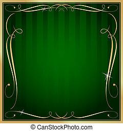 firkantet, guld, blank, vektor, grøn baggrund, udsmykket, stribet