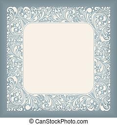 firkantet, ornamentere, etikette