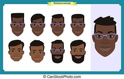 firma, amerikaner, characters., zeseed, vector., folk, skabelon, isoleret, smil., lejlighed, konstruktion, set., avatars, konstruktion, animation., arbejder, sort, avatar, folk, mand, icons., gruppe