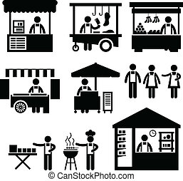 firma, bås, butik, marked, boden