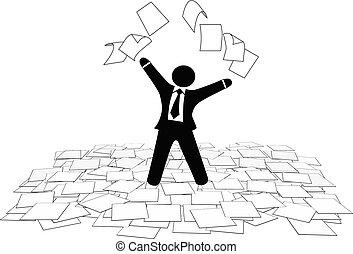 firma, gulv, sider, arbejde, luft, avis, kast, mand