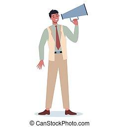 firma, indgåelse, specielle, megaphone., karakter, beliggende