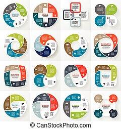 firma, infographic, diagram, 4, cirkel, valgmuligheder
