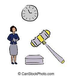 firma, juridiske, kvinde, style., watch., tøjsæt, sæt, emne, vektor, lejlighed, hammer