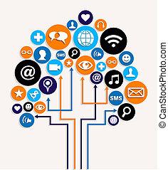 firma, medier, træ, plan, sociale, netværk
