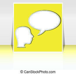 firma, -, midt-, tale, voksen, baggrund, blank, boble, samtalen, mand