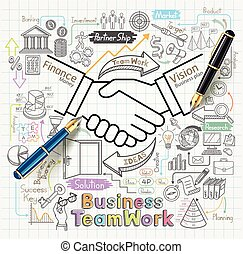 firma, teamwork, doodles, iconerne, set., begreb