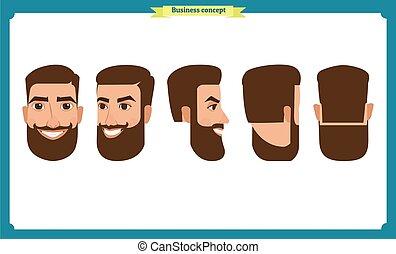 firma, white., characters., folk, isoleret, vektor, side, lejlighed, konstruktion, back., set., avatars, konstruktion, animation., forside, arbejder, avatar, folk, mand, icons.