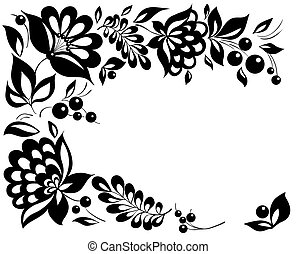 firmanavnet, black-and-white, leaves., element, konstruktion, retro, blomstrede, blomster