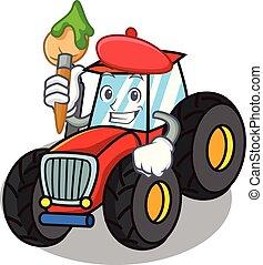 firmanavnet, karakter, cartoon, traktor, kunstner