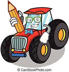 firmanavnet, karakter, student, traktor, cartoon