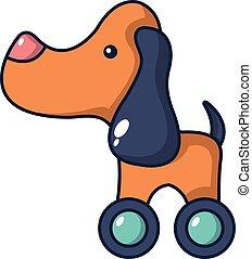 firmanavnet, legetøj hund, ikon, hjul, cartoon