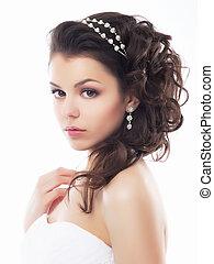 firmanavnet, makeup, fiancee., -, unge, blide, bryllup, coiffure