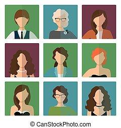 firmanavnet, sæt, avatars, kontor, kvindelig