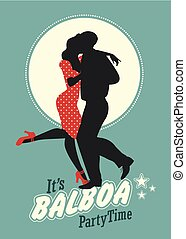 """firmanavnet, silhuet, time:, dansende, par, unge, """"balboa"""", svinge, gilde"""