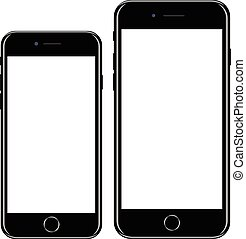 firmanavnet, smartphone, telefon, ambulant, varemærke, realistiske, sort, iphon, nye