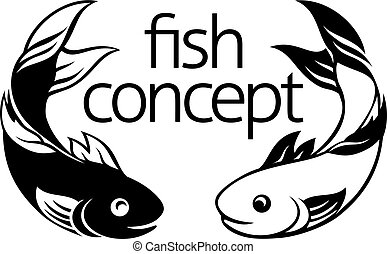 fish, begreb, ikon