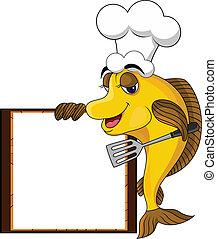 fish, koge, gul, cartoon, morsom