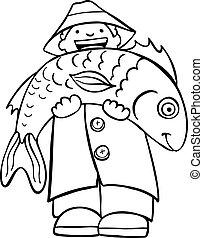 fish, kunst, beklæde, holde