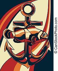 fish, kvalitet, illustration, vektor, anker, kunst, beklæde