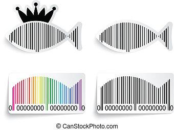 fish, sæt, barcode, etikette