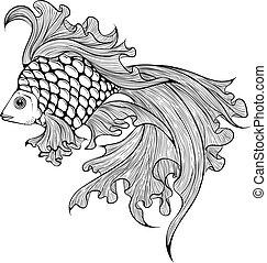 fish, veiltail, kunst, beklæde