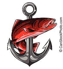 fish, vektor, kunst, beklæde, illustration, anker, kvalitet