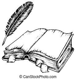 fjer, bog, åbn, affattelseen