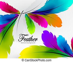 fjer, vektor, farverig, baggrund