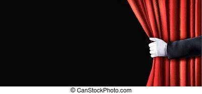 fløjl, illustration., hånd., vektor, baggrund, gardin, rød