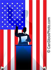 flag, bag efter, united states, politiske, podium, taler