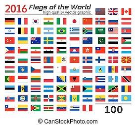 flag, sæt, forskellige, countries.